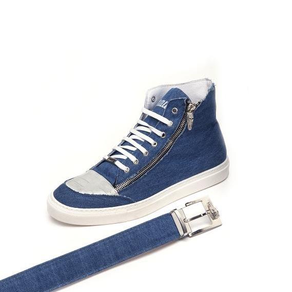 Mauri Enrico M766 Denim & Crocodile Sneakers Blue (Special Order) Image