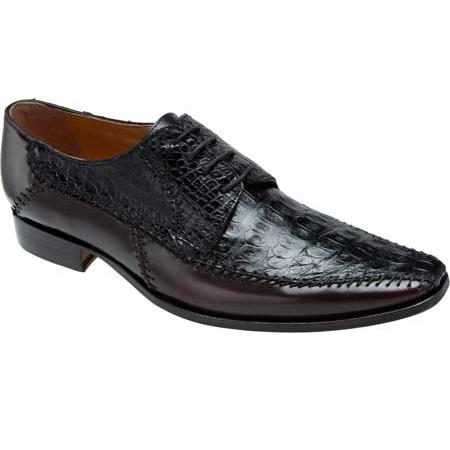 Mauri Epoca M752 Calfskin & Crocodile Derby Shoes Black / Burgundy (Special Order) Image
