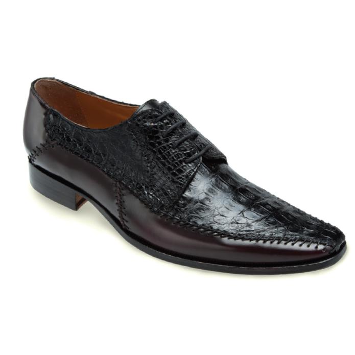 Mauri Epoca M752 Crocodile & Calfskin Shoes Black / Ruby Red (Special Order) Image