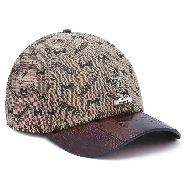 Mauri Ostrich Leg & Fabric Leather Hat Brown (Special Order) Image