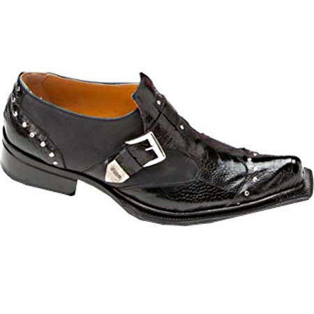 Mauri Faraone 44237 Suede & Ostrich Leg Monk Strap Shoes Black (Special Order) Image
