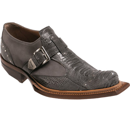 Mauri Faraone 44237 Suede & Ostrich Leg Monk Strap Shoes Gray (Special Order) Image