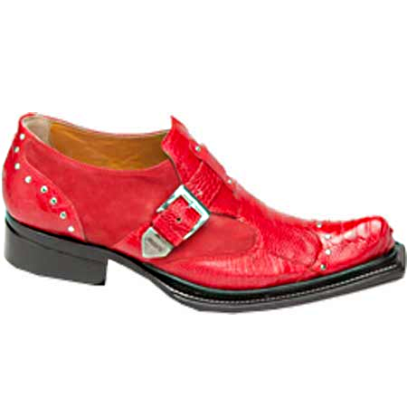 Mauri Faraone 44237 Suede & Ostrich Leg Monk Strap Shoes Red (Special Order) Image