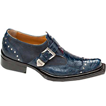 Mauri Faraone 44237 Suede & Ostrich Leg Monk Strap Shoes Wonder Blue (Special Order) Image