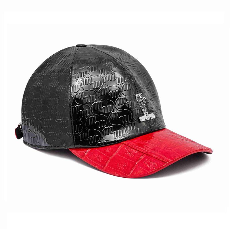 Mauri H65 Baby Crocodile / Embossed Patent Cap Black / Red Image