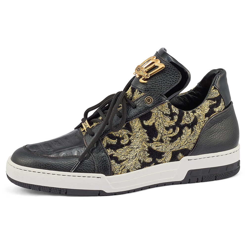 Mauri 8413 Time / Croc / Didier Fabric & Patent Sneakers Black / Gold Image