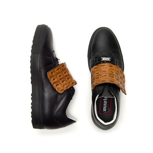 Mauri Irania 8561 Calfskin & Hornback Crocodile Sneakers Black / Cognac (Special Order) Image