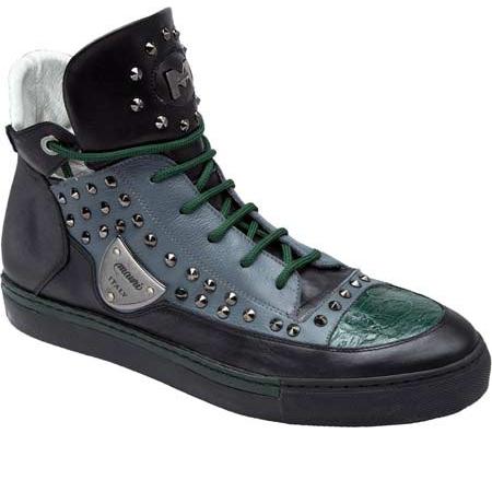 Mauri Jungla 8663 Nappa & Crocodile Sneakers Black/Gray/Green (Special Order) Image