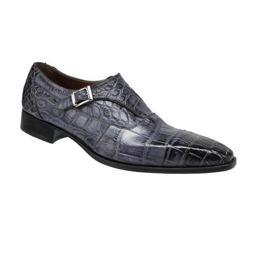 Mauri 1069 Lapis Alligator Monk Strap Shoes Medium Gray (Special Order) Image