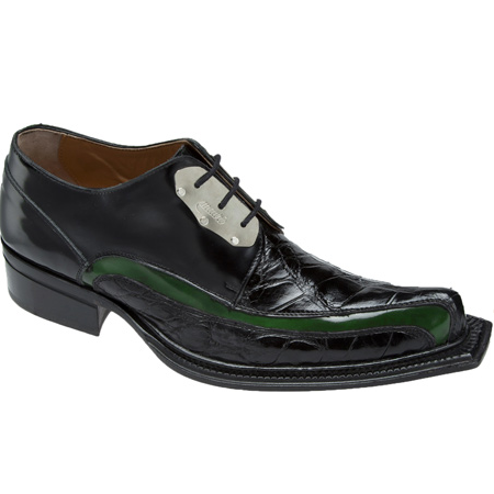 Mauri Leone 44191 Calf & Alligator Shoes Black/Green (Special Order) Image