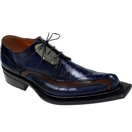 Mauri Leone 44191 Calf & Alligator Shoes Blue/Cognac (Special Order) Image