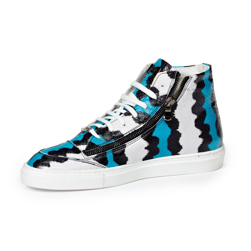 Mauri M726 Toga Python Embossed Sneakers Blue / Black / White (Special Order) Image