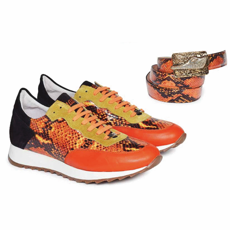Mauri M728 Calf & Python Print & Suede Sneakers Orange (Special Order) Image