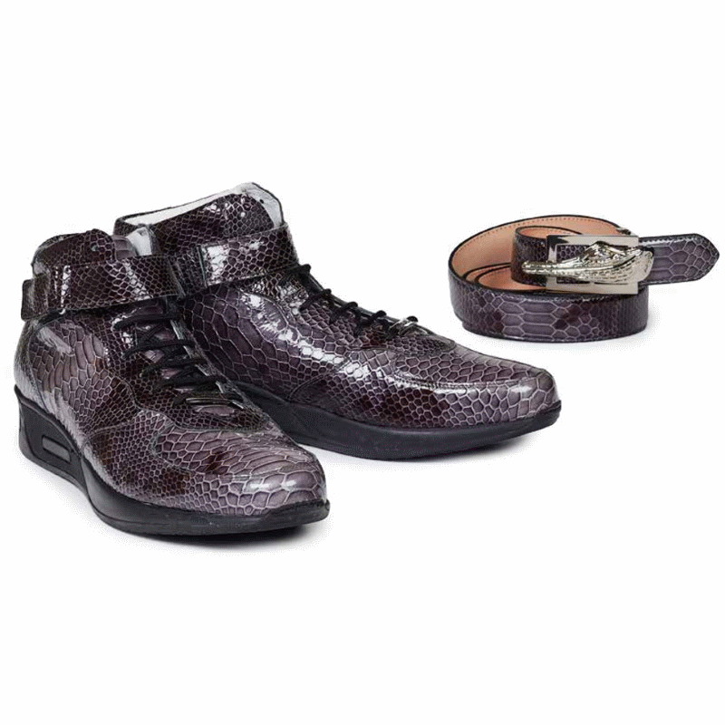 Mauri M764 Patent Python Print High Top Sneakers Charcoal (Special Order) Image