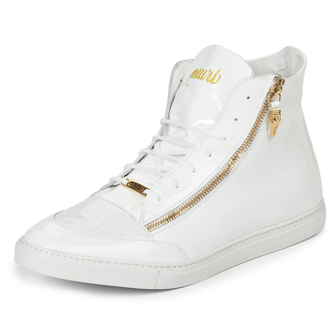 Mauri M766 Enrico Patent Leather & Crocodile Sneakers White (Special Order) Image