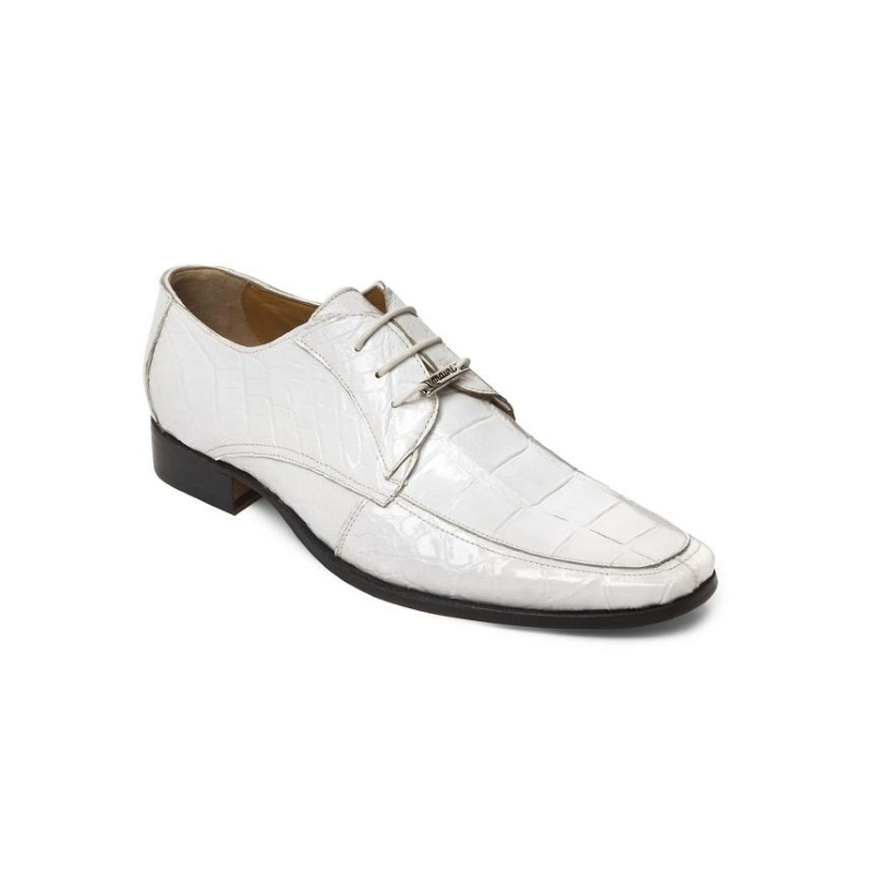 Mauri M785 Alligator Derby Shoes White (Special Order) Image
