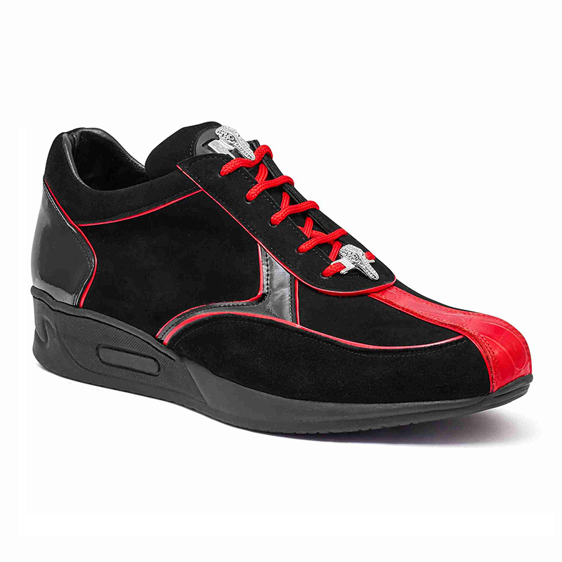 Mauri M791 Baby Crocodile / Suede / Patent Sneakers Red / Black Image