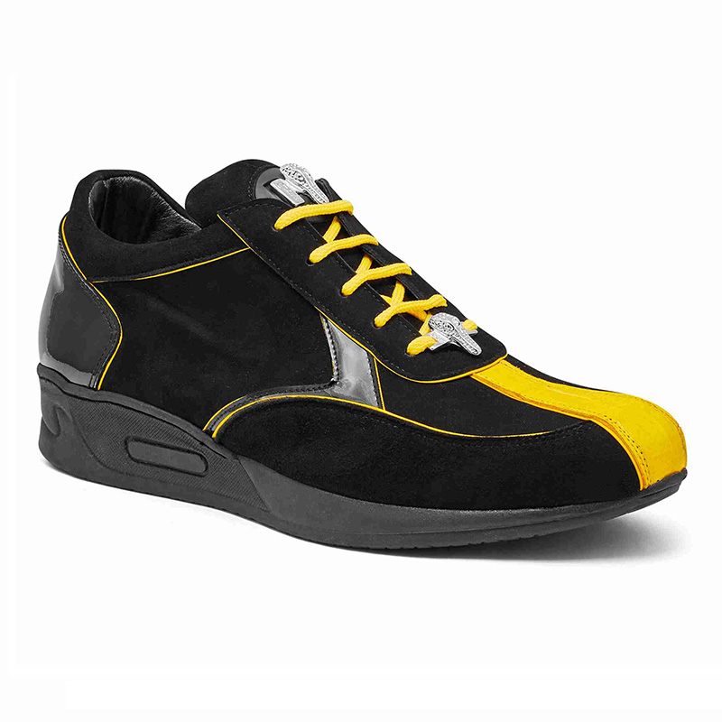 Mauri M791 Baby Crocodile / Suede / Patent Sneakers Yellow / Black (Special Order) Image
