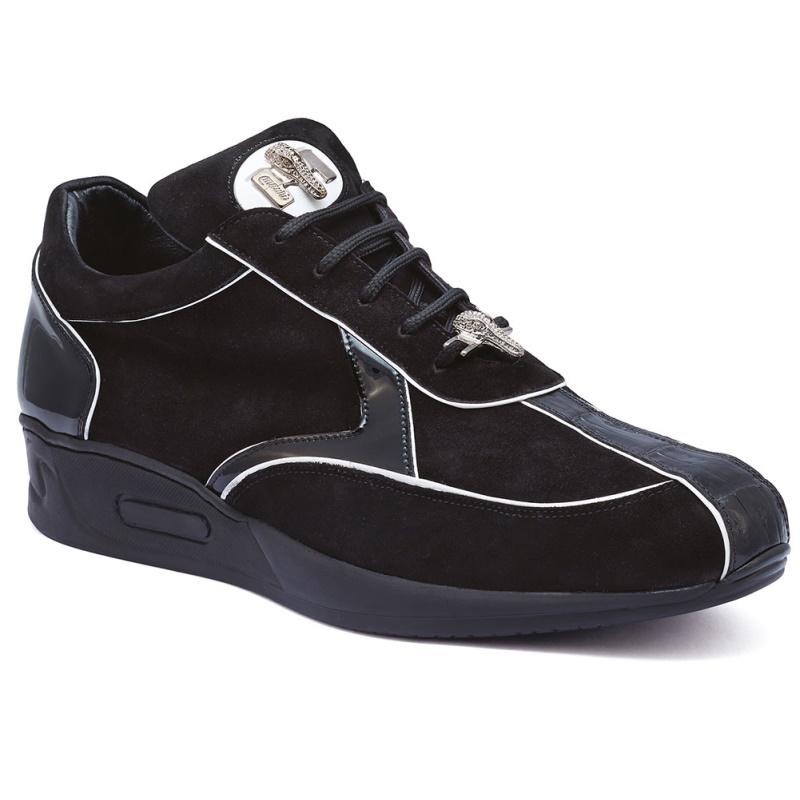 Mauri M791 Jackpot Caiman Croc & Suede Sneakers Black Image