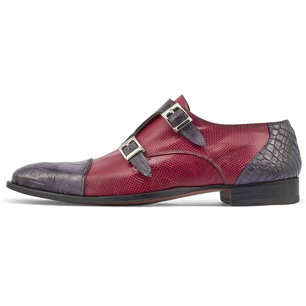 Mauri Madison 4560/2 Alligator & Karung Shoes Charcoal Grey / Ruby Red Image