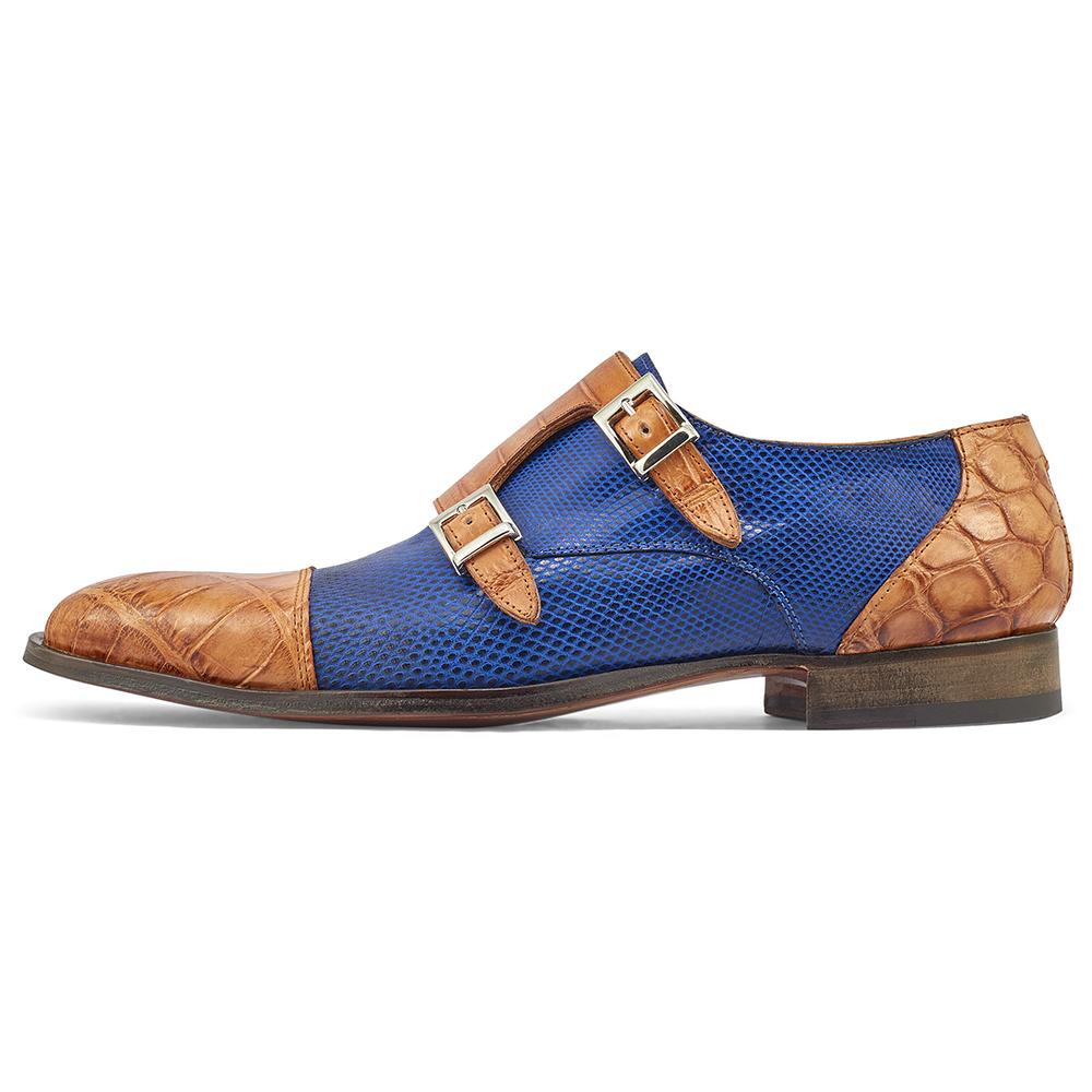 Mauri Madison 4560/2 Alligator & Karung Shoes Cognac / Brilliant Blue Image