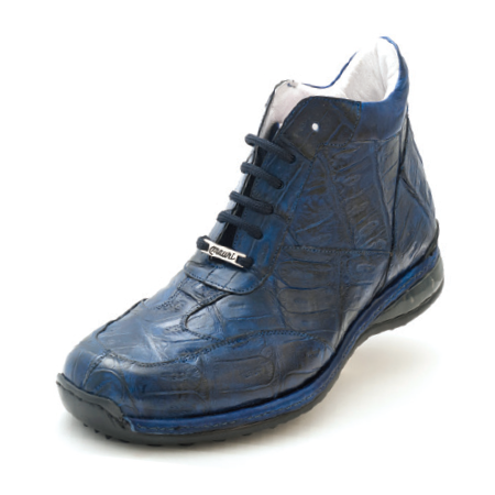 Mauri Mito 8510 Alligator High Top Sneakers Iris Blue (Special Order) Image