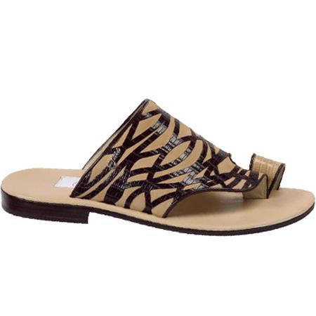 Mauri Muscat 1672 Suede & Lizard Sandals Dune (Special Order) Image