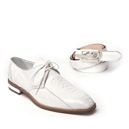 Mauri Orazio 4674 Ostrich Leg Shoes White (Special Order) Image