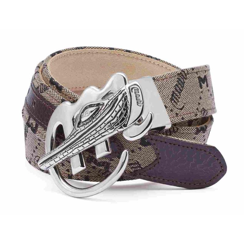Mauri Ostrich & Fabric Belt Brown Image