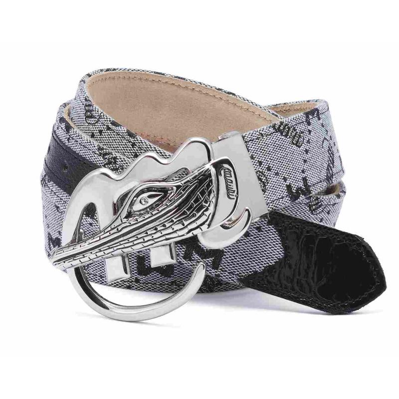 Mauri Ostrich & Fabric Belt Gray Image