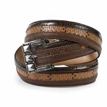 Mauri Ostrich Leg & Fabric Belt Rust/Brown Image
