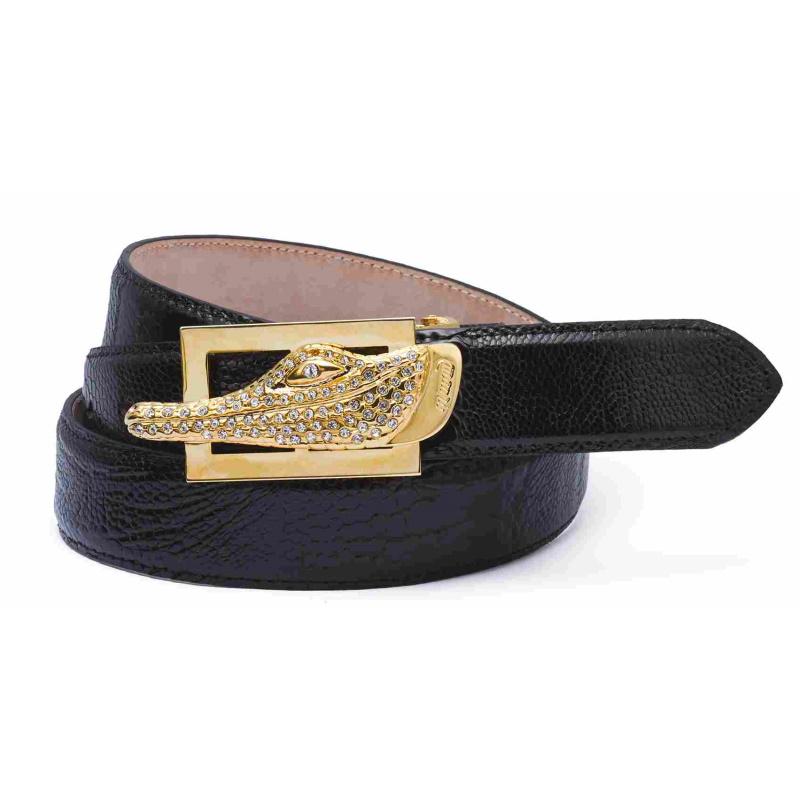 Mauri Ostrich Leg Belts Black Image
