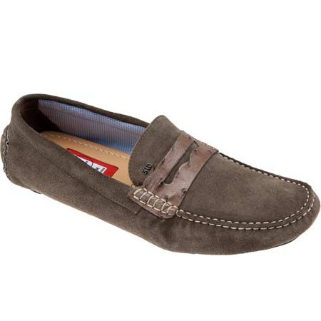 Mauri Palio 9247 Suede & Ostrich Driving Loafers Mink (Special Order) Image