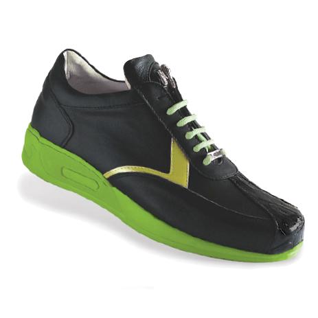 Mauri Piazza M704 Nappa & Crocodile Sneakers Black/Green (Special Order) Image
