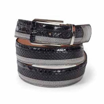 Mauri Python Python / Lizard / Ostrich Belt Black & Gray Image