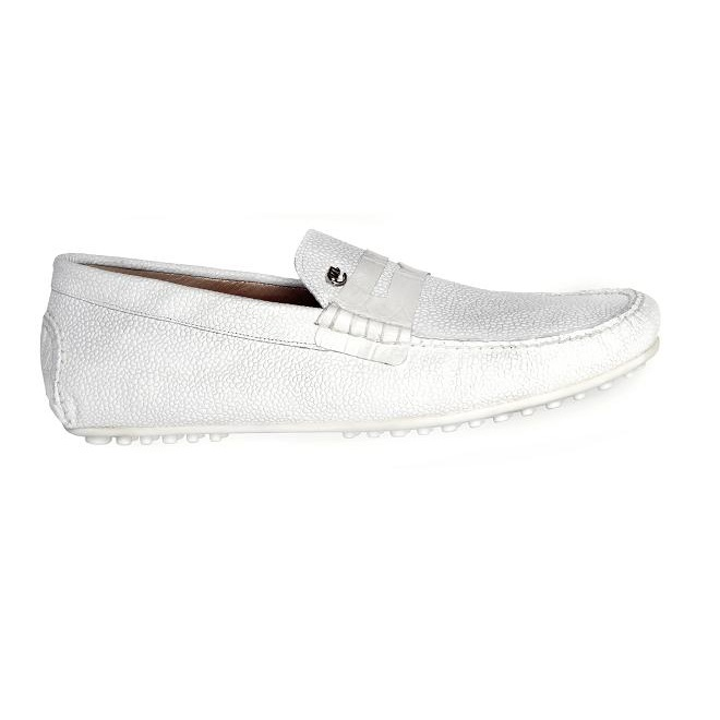 Mauri Ravenna 3128 Pebble Grain & Crocodile Driving Shoes White (Special Order) Image