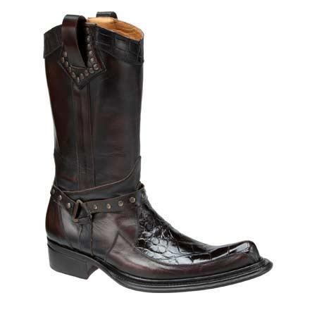 Mauri Riace 44238 Calfskin & Alligator Boots Dark Brown (Special Order) Image