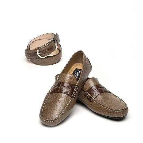 Mauri Santacroce 9228 Peccary & Crocodile Driving Shoes Light Brown (Special Order) Image