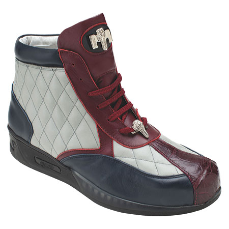 Mauri Savvy M781 Crocodile & Nappa Sneakers Blue/Gray/Red (Special Order) Image