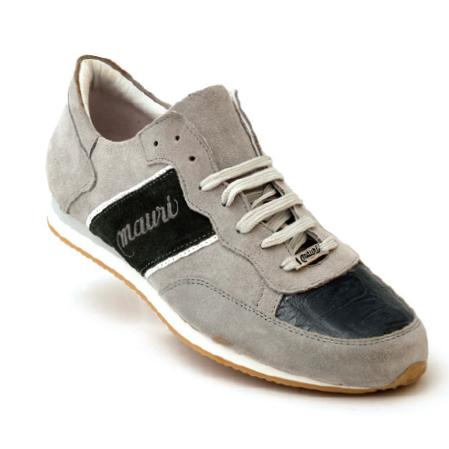 Mauri Scilla M783 Suede & Crocodile Sneakers Charcoal Grey (Special Order) Image