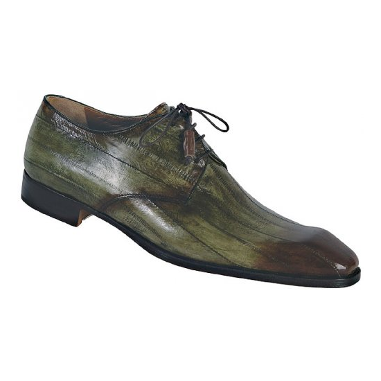Mauri Acclaimed 1056 Genuine Eel Lace Up Shoes Green/Dark Brown (Special Order) Image