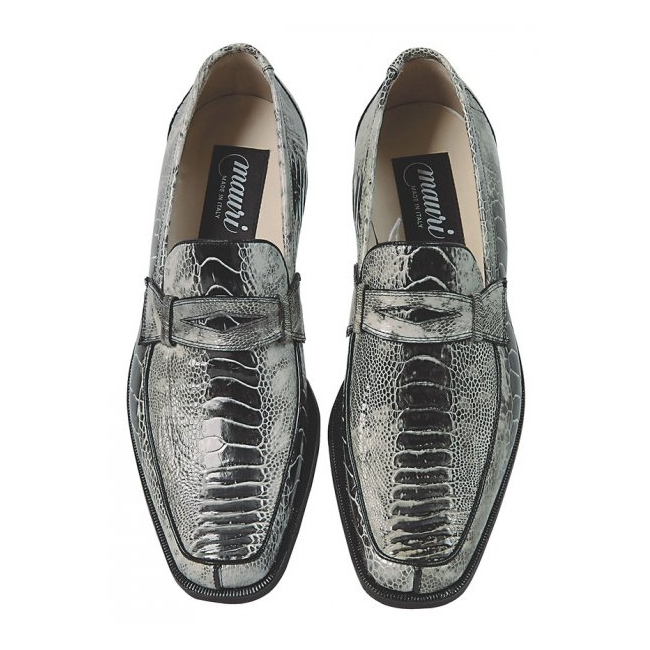 Mauri 4323 Ostrich Leg Loafers White/Black (Special Order) Image