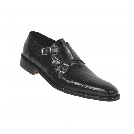 Mauri 4490 Double Monk Strap Alligator Shoes Black (Special Order) Image