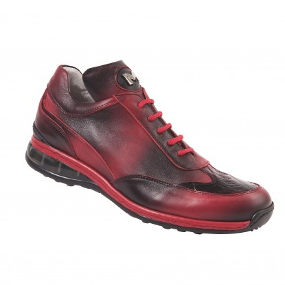 Mauri 8655/1 Airwaves Crocodile & Nappa Sneakers Black Red (Special Order) Image