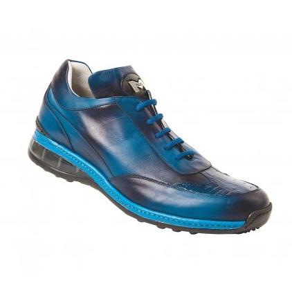 Mauri 8655/1 Airwaves Crocodile & Nappa Sneakers Indigo Blue (Special Order) Image