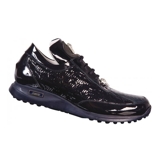 Mauri 8658 Ostrich & Patent Leather Sneakers Wonder Blue/Black (Special Order) Image