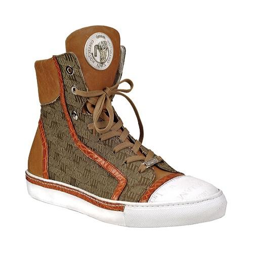 Mauri 8788 Nappa & Crocodile High Top Sneakers Cognac/Beige (Special Order) Image