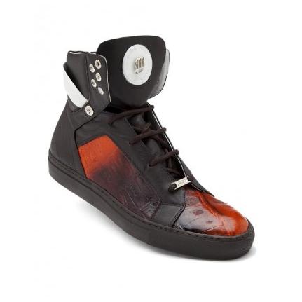Mauri Fall 8792 Crocodile & Nappa High Top Sneakers Brown/Orange (Special Order) Image
