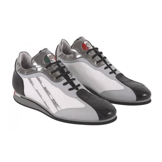 Mauri 8869 Nappa & Crocodile Sneakers Charcoal Gray (Special Order) Image