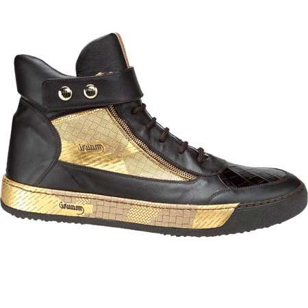 Mauri Slang 8541 Nappa & Alligator Sneakers Dark Brown / Gold (Special Order) Image